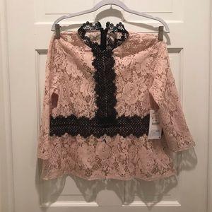 Zara blush lace peplum top